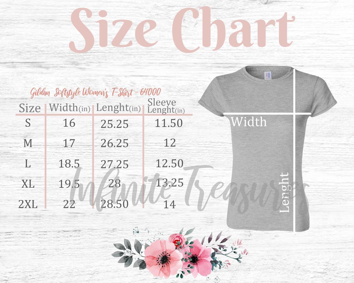 Colored Logo Women's T-Shirt Size Chart